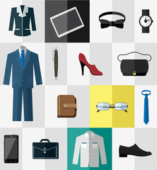 Set of flat business work clothes and accessories icons