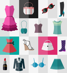 Set of flat women's clothes and accessories