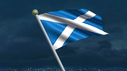 Looping Scottish flag animation with sky background