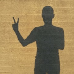 shadow of a boy making the victory sign