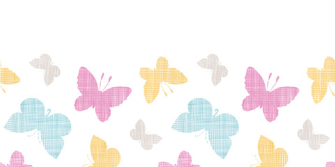 Textile textured colorful butterflies horizontal seamless