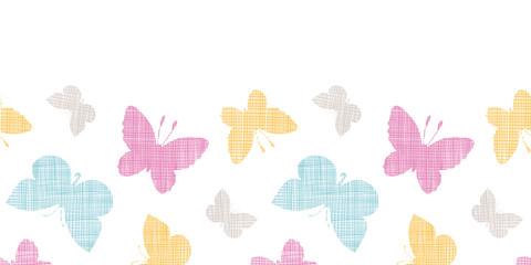 Textile textured colorful butterflies horizontal seamless