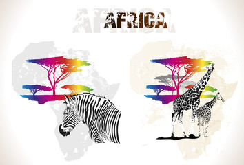 Colorful africa map with trees and animals, vector illustration