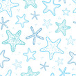 Starfish blue line art seamless pattern background - 67514346