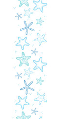 Starfish blue line art vertical seamless pattern background