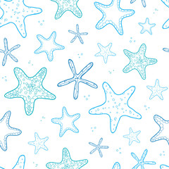 Starfish blue line art seamless pattern background