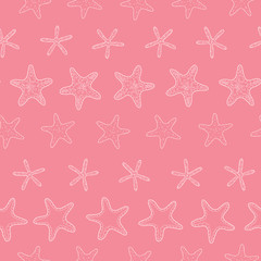 Starfish pink pastel stripe line art seamless pattern background