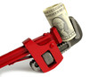 red wrench  with dollar on a white background