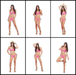 Sequence of images of a model with pink bikini