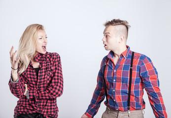 Couple in quarrel.