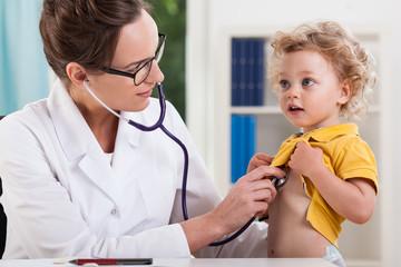 Female doctor examining little sweet boy