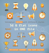 3d and flat set icons
