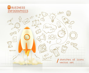 Business infographics, start up vector set