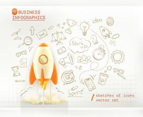 Business infographics, start up vector set