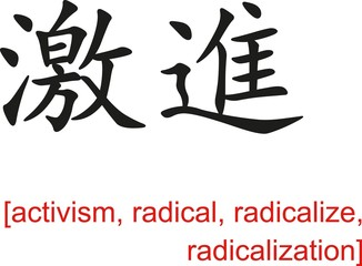 Chinese Sign for activism, radical, radicalize, radicalization