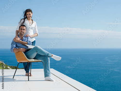 canvas print picture happy young romantic couple have fun relax