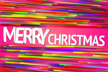 Merry Christmas Rainbow straight Line Glow Pink Background