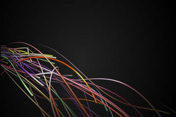 Corner Rainbow Strands Line  Dark Background