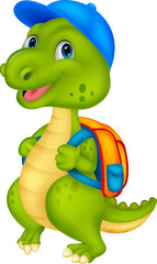 Cute dinosaur with backpack