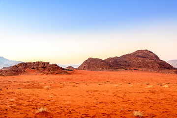 Jordanian desert at a morning in Wadi Rum, Jordan.