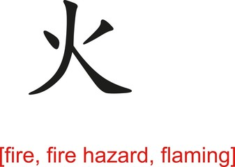 Chinese Sign for fire, fire hazard, flaming
