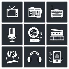 Media icon set - video, news, music, TV, recording, photo