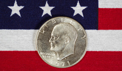 Eisenhower Silver Dollar on American Flag