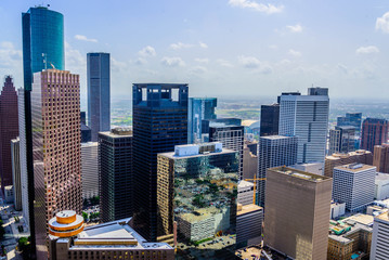 Downtown Houston buildings and streetscape
