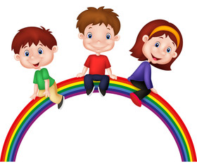 Cartoon children sitting on rainbow