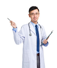 Male doctor with folder and pen point out