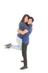 cute couple hugging boy carrying girl