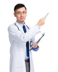 Asian male doctor with clipboard and pen indicate something