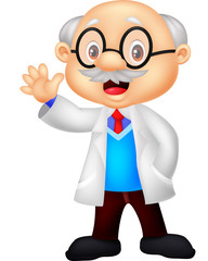 Professor cartoon waving hand