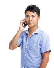 Asian man talk to mobile phone
