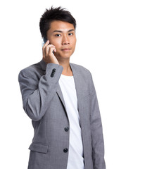 Asian businessman chat on moble phone