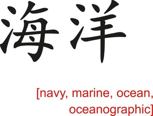 Chinese Sign for navy, marine, ocean, oceanographic