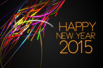 2015 Happy New Year Strands Line Glow Dark Background