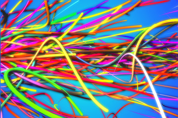 Horizontal Rainbow Strands Line Glow Blue Background