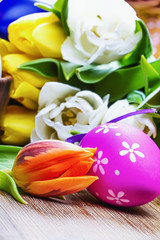 Easter cake eggs and tulips