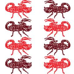 Seamless pattern of red scorpion