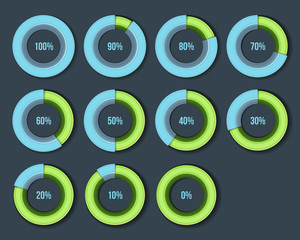 Percentage Diagram Presentation Design Elements. Infographic