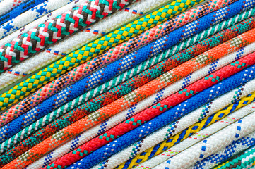 Close up of different types of ropes