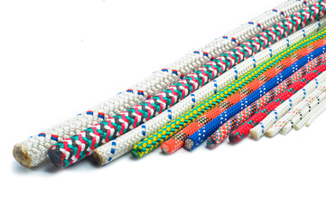 Close up of different types of ropes and cords