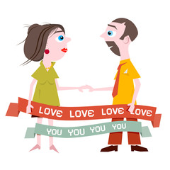 Man and Woman Holding Hands with Love You Title on Ribbon