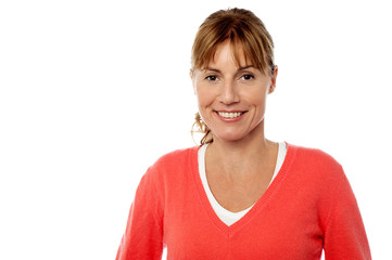 Smiling caucasian woman on white background
