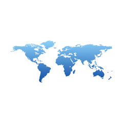 Map of the world - blue gradient silhouette isolated