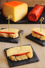 Sobrasada sausage and cheese Spanish tapas or pintxos