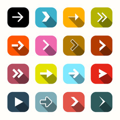 Colorful Vector Flat Design Arrows Set in Rounded Squares