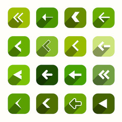 Green Vector Flat Design Arrows Set in Rounded Squares