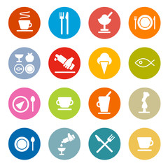 Colorful Circle Flat Design Vector Restaurant - Food Icons Set